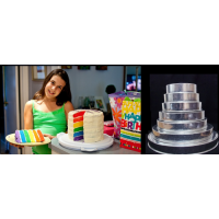 "Round Cake baking tins Rainbow Multi Layer - 1.5 "" Deep - Shallow Tins"