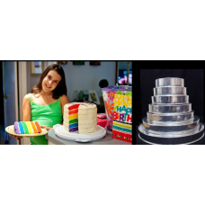 "Round Cake baking tins Rainbow Multi Layer - 1.5 "" Deep - Shallow Tins"