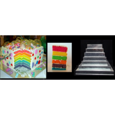 "Square Cake baking tins Rainbow Multi Layer - 1.5 "" Deep - Shallow Tins"