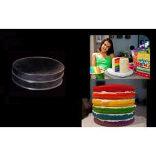"Round Cake baking tins Rainbow Multi Layer - 1.5 "" Deep - Shallow Tins - 8"" x 8"" Pair"