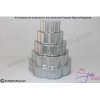 5 Tier Petal / Flower Shape Cake Tins - 6 Petal