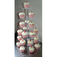 Crystal Cup Cake Stands - Petal Shape - 6 Tier