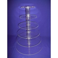 Crystal Cup Cake Stands - 6 Tier Round