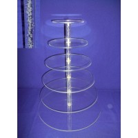 Crystal Cup Cake Stands - 6 Tier Round ( Bubble Effect Solid Pillar)