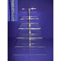 Crystal Cup Cake Stands - 6 Tier Square  ( Bubble Effect Solid Pillar)