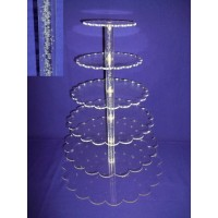Crystal Cup Cake Stands - 6 Tier Petal ( Bubble Effect Solid Pillar)