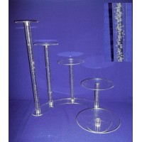 Crystal Cake Stands - 5 Tiers ( Bubble Effect Solid Pillar)