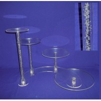 Crystal Cake Stands - 4 Tiers ( Bubble Effect Solid Pillar)