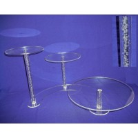 Crystal Cake Stands - 3 Tiers ( Bubble Effect Solid Pillar)