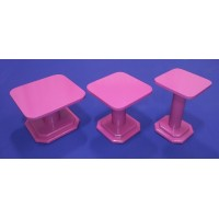 Cake and Cupcake Stands - Pink Color - In Wood For Valentine And Wedding Special