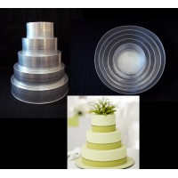 "Round Cake Baking Tins - 4 Tier Round Tins - 3"" Deep - Jointless High Quality"