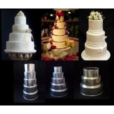 "Round Cake Baking Tins - 4 Tier Round Tins - 4"" Deep"