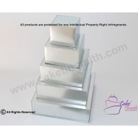 "Square Cake Baking Tin - 5 Tier Square Cake Tins - 4"" Deep"
