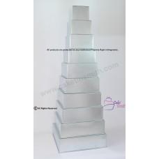 """Square Cake Baking Tin - 10 Tier Square Cake Tins - 4"""" Deep"""