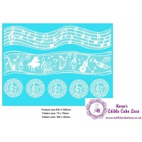 Cake Lace Mat For Cake Decoration - Musical Notes Cake Lace Mat