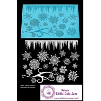 Cake Lace Mat For Cake Decoration  - 3D HD Frozen Crystal Cake Lace Mats