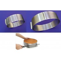 "Cake Slicer - Cake Cutter - Adjustable Ring Size 6 to 9 Inch - 3"" Deep"