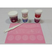 Cake Lace Starter Kit 22 ( Cake Lace Mix or Premix + Spreading Knife + Cake Lace Mats)